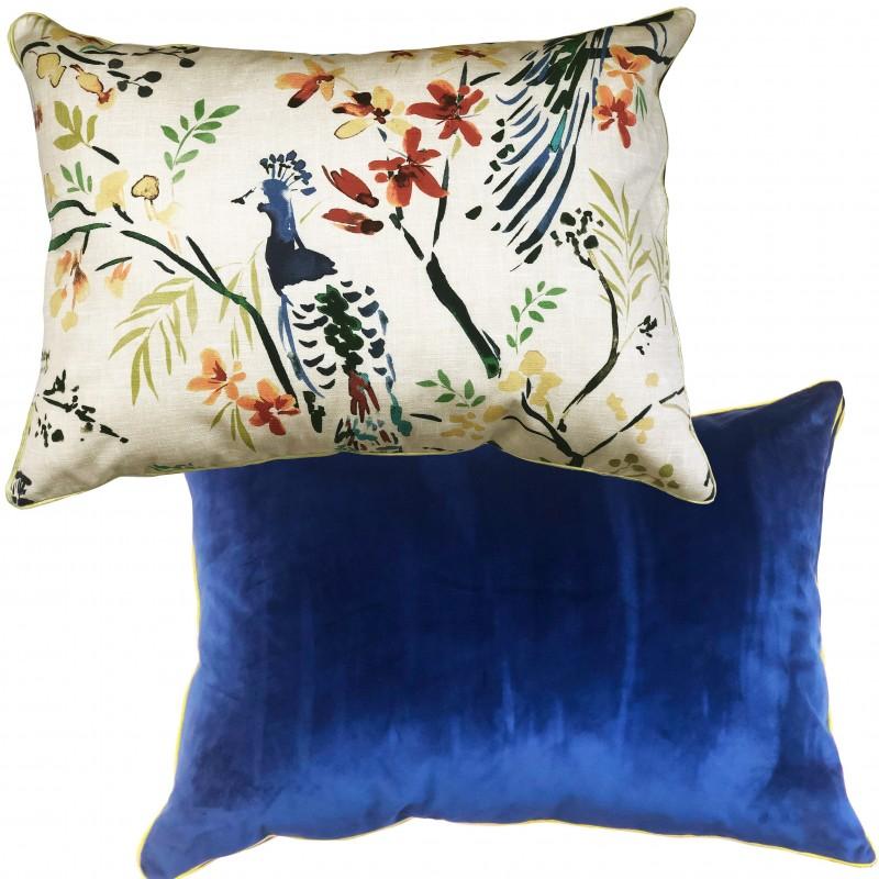 Perna decorativa dreptunghiulara cu 2 fete Jungle 03 crem cu albastru