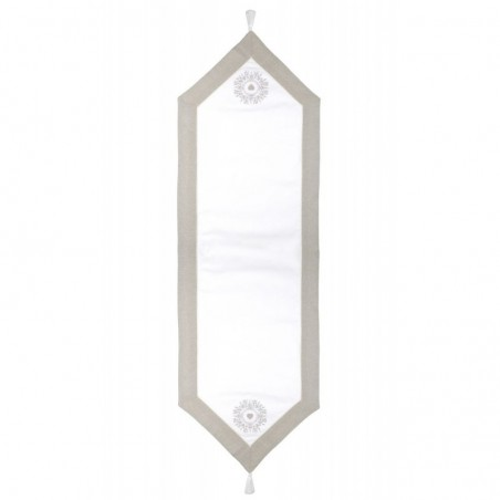 Napron de masa bumbac Elvira alb cu grej 45x150 cm