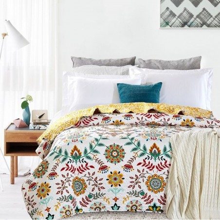 Set cuvertura de pat cu o fata de perna flori viu colorate Antonella