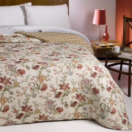 Set cuvertura de pat cu 2 fete de perna Chantal bej cu flori grena
