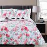 Set cuvertura de pat cu 2 fete de perna model floral Mia alb cu rosu