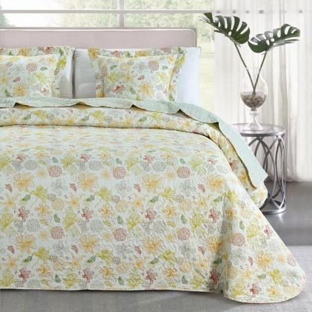 Set cuvertura de pat cu 2 fete de perna design floral Loana galben cu verde