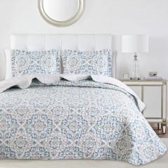 Set cuvertura de pat cu 2 fete de perna model geometric Marena alb cu albastru