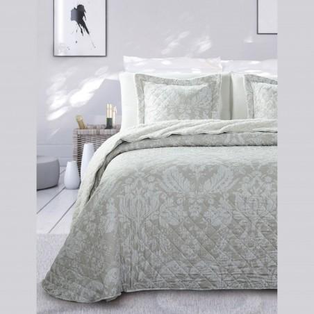 Set cuvertura de pat cu 2 fete de perna design clasic Adriana grej