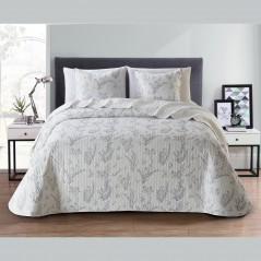 Set cuvertura de pat cu 2 fete de perna cu flori argintii Chiara