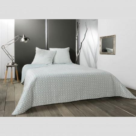 Set cuvertura de pat reversibila cu 2 fete de perna Faro alb cu verde