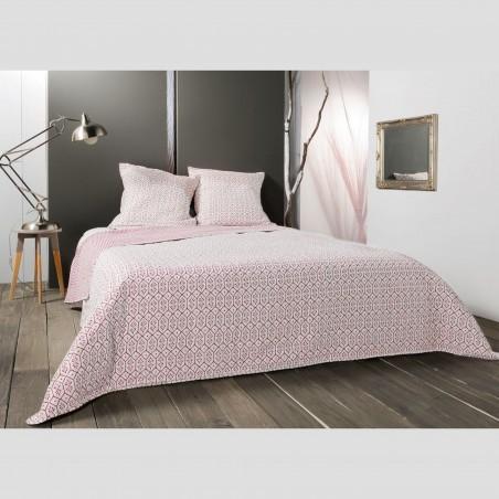 Set cuvertura de pat reversibila cu 2 fete de perna Faro alb cu rosu