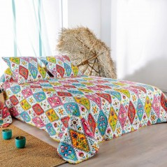 Set cuvertura de pat cu 2 fete de perna Gipsy multicolora