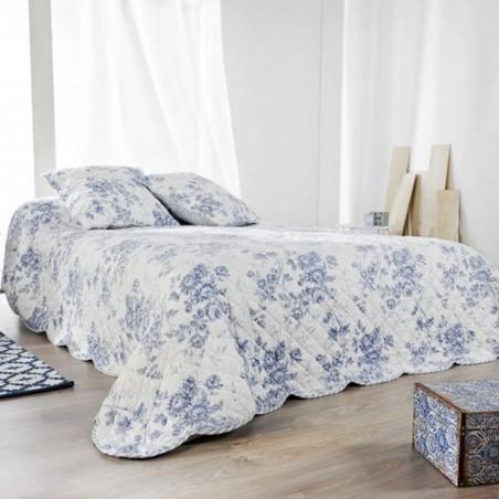 Set cuvertura de pat cu 2 fete de perna Cabourg alb cu flori albastre