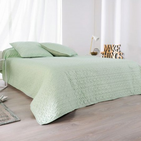 Set cuvertura de pat reversibila cu 2 fete de perna Moustier verde cu gri si alb