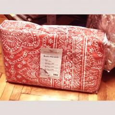 Set cuvertura de pat cu 2 fete de perna imprimeu cu arabescuri Mandala corai