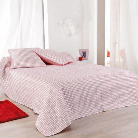 Set cuvertura de pat reversibila cu 2 fete de perna Alicante rosu cu alb