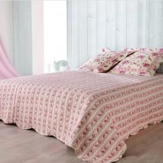 Set cuvertura de pat reversibila cu 2 fete de perna design floral Roselyne crem si roz