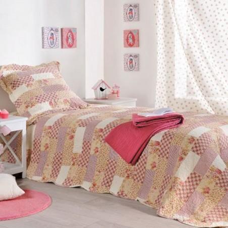 Set cuvertura de pat cu 2 fete de perna cu imprimeu mixt Lilou bej cu roz inchis