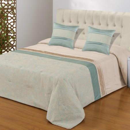 Set cuvertura de pat cu 2 fete de perna design elegant Linda bleu si crem