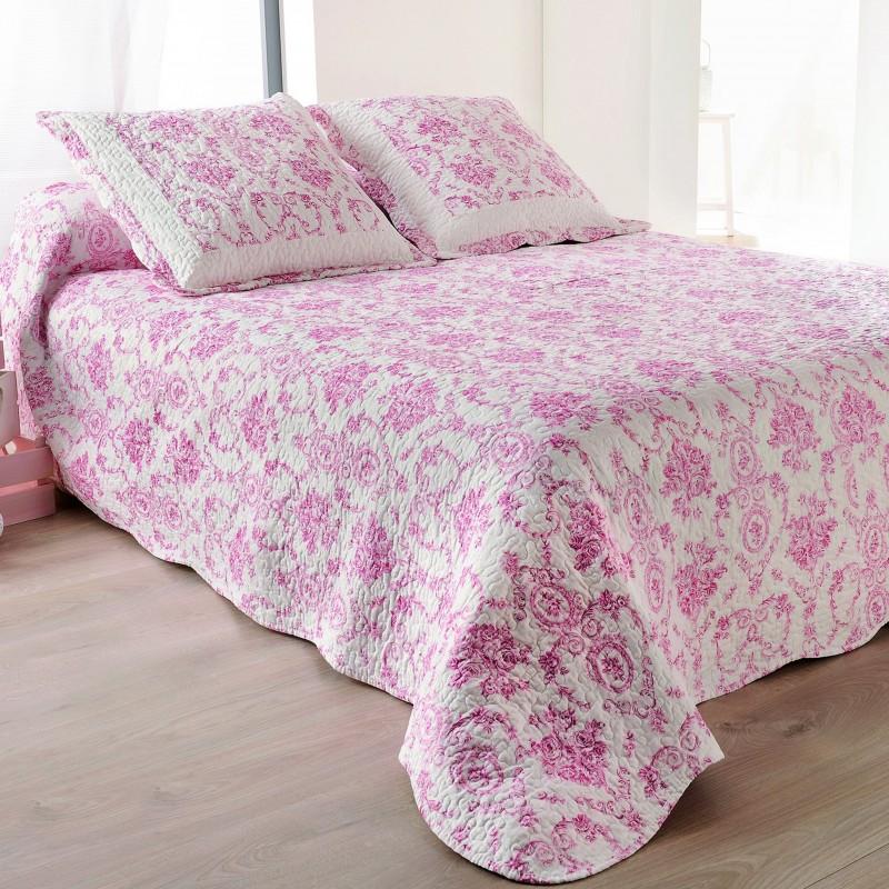 Set cuvertura de pat reversibila cu 2 fete de perna flori roz pe fond alb