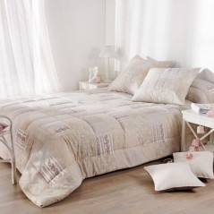 Set cuvertura de pat cu 2 fete de perna design clasic Bergamote crem
