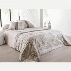 Set cuvertura de pat cu 2 fete de perna design clasic Lampas grej cu gri
