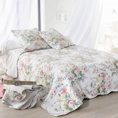Set cuvertura de pat cu 2 fete de perna Tricia cu flori colorate