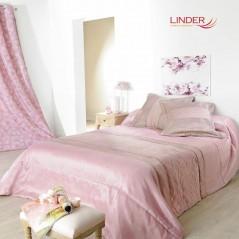 Set cuvertura de pat cu 2 fete de perna design simplu Milano roz
