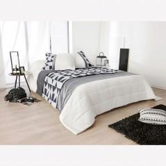 Set cuvertura de pat cu 2 fete de perna cu imprimeu geometric Bingo alb negru si gri
