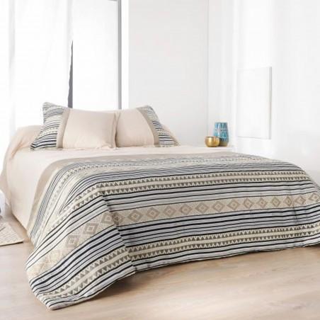 Set cuvertura de pat cu 2 fete de perna cu design geometric Inca bej