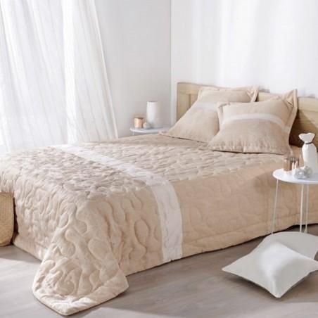 Set cuvertura de pat cu 2 fete de perna design simplu Capri ecru