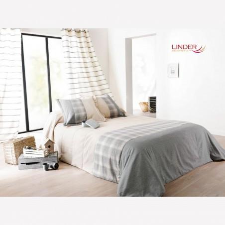 Set cuvertura de pat cu 2 fete de perna design simplu si rafinat Calvin gri