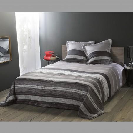 Set cuvertura de pat cu 2 fete de perna model cu dungi Inuit gri cu negru