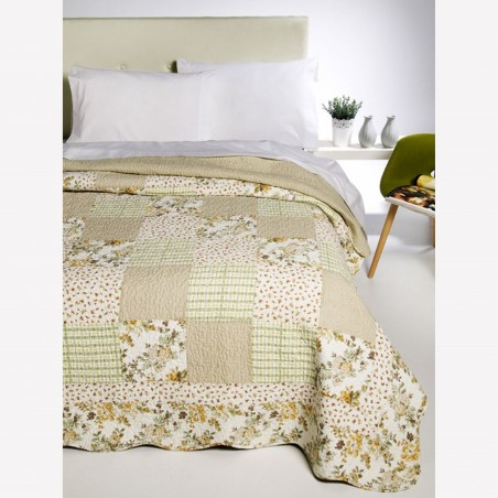 Set cuvertura de pat cu 2 fete de perna Gwendoline galben cu verde