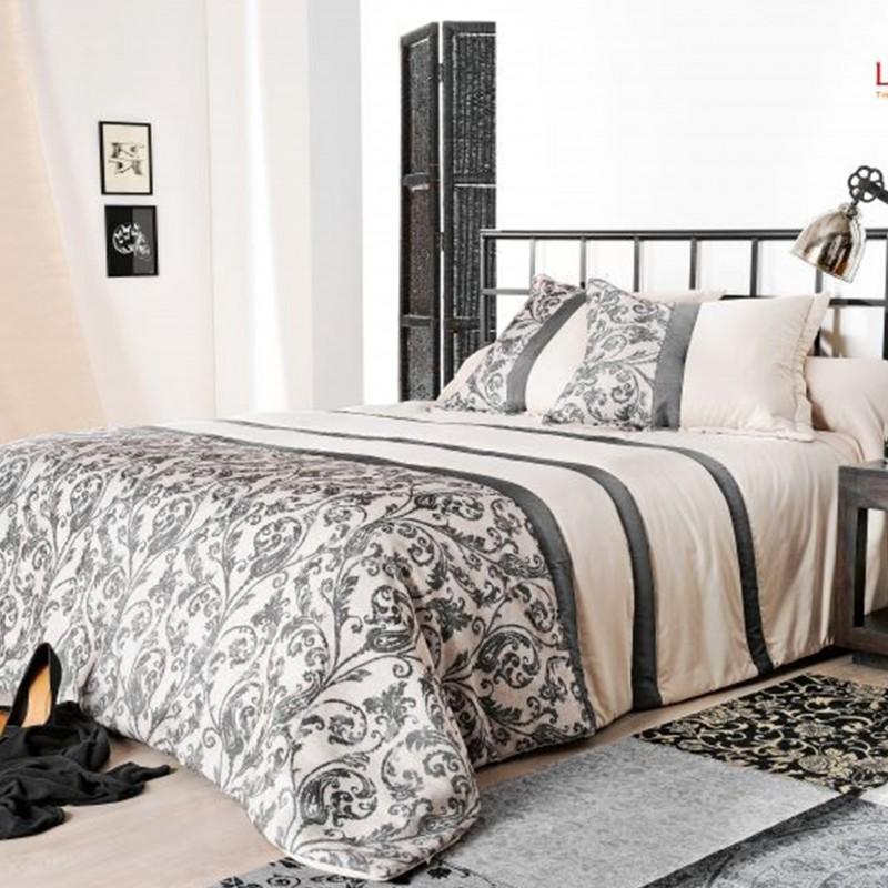 Set cuvertura de pat cu 2 fete de perna cu imprimeu elegant Athenee gri cu negru