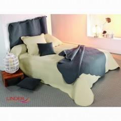 Set cuvertura de pat cu 2 fete de perna model simplu Castille ecru
