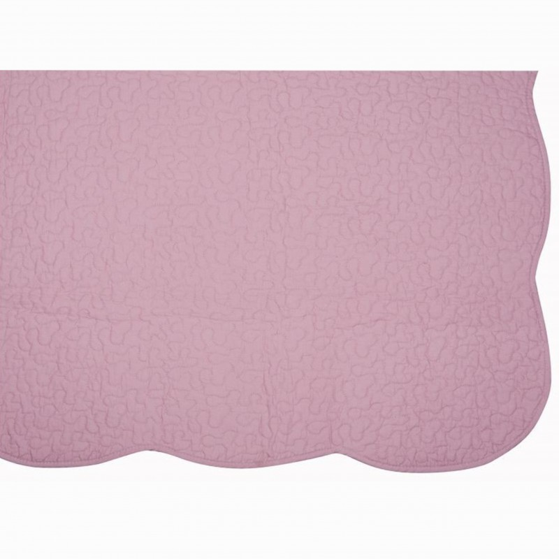 Set cuvertura de pat cu 2 fete de perna model simplu Castille roz prafuit