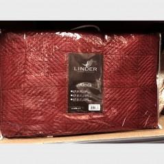 Set cuvertura de pat cu 2 fete de perna cu model clasic Alexia rosu