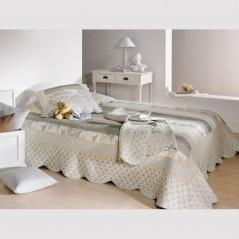 Set cuvertura de pat cu 2 fete de perna stil provence Marylou gri si crem