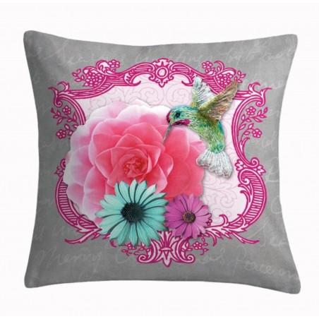 Perna decorativa gri cu imprimeu floral Colorama