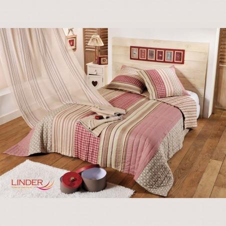 Set cuvertura de pat cu 2 fete de perna cu design rustic Bellevarde bej cu grena