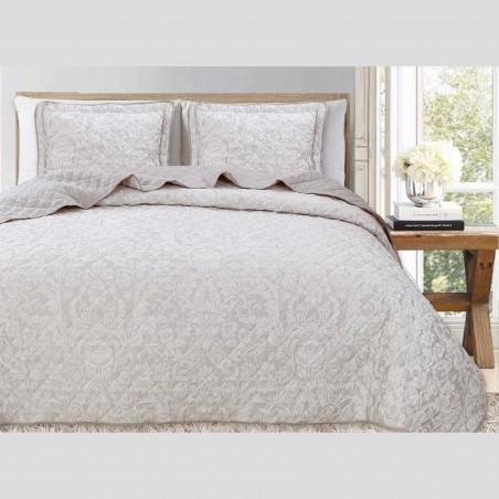 Set cuvertura de pat cu 2 fete de perna model floral fin Concetta crem si bej