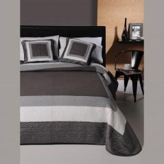 Set cuvertura de pat cu 2 fete de perna Marbore gri cu negru