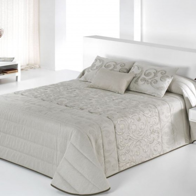 Set cuvertura de pat cu 2 fete de perne matlasata Garen bej auriu