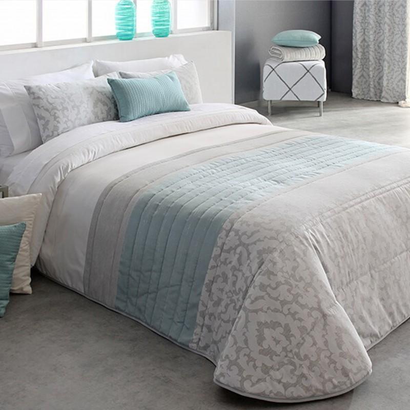 Cuvertura de pat eleganta Kylie cu design deosebit gri cu alb si turcoaz