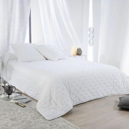 Set cuvertura de pat capitonata cu 2 fete de perna cu model simplu si elegant alb
