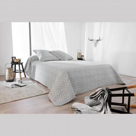 Set cuvertura de pat cu 2 fete de perna design clasic Seville gri