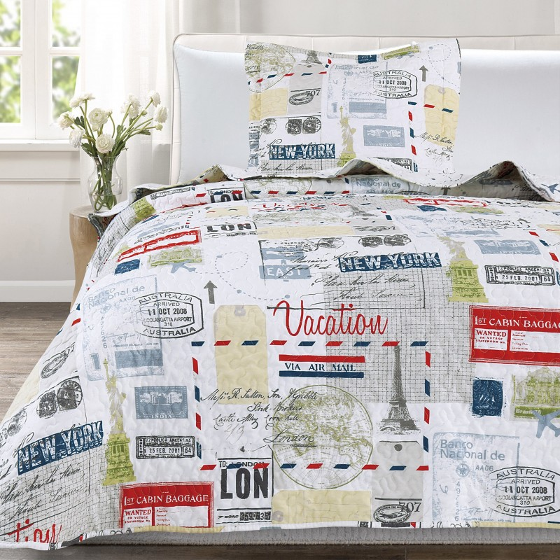 Set cuvertura de pat cu o fata de perna cu design modern Luigi