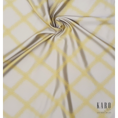 Metraj draperie cu 2 fete design abstract Trinity galben si crem perlat