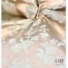 Metraj draperie si tapiterie cu 2 fete Cometa bej cu flori turcoaz deschis