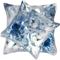 Perna decorativa cu 2 fete cu design floral model catifea gri albastrui
