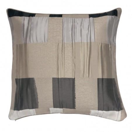 Perna decorativa moderna cu textura mixta bej cu gri