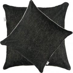Perna decorativa simpla cu aspect texturat gri inchis si bordura ivoire