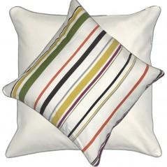 Perna decorativa cu 2 fete bumbac cu dungi multicolore si bordura gri